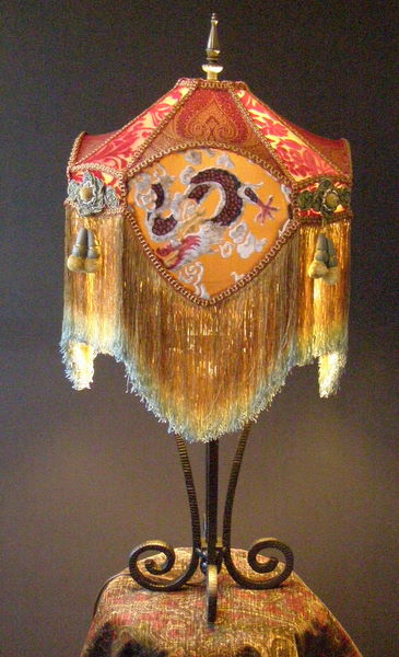 Asian Victorian Lampshade And Lamp