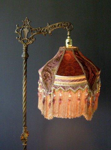 Antique Bridge Lamp And Victorian Lampshade