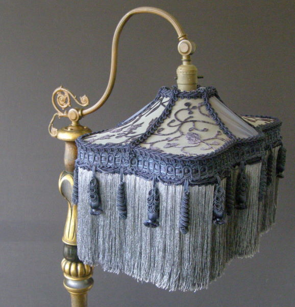 Antique bridge lamp with victorian lampshade aloadofball Image collections